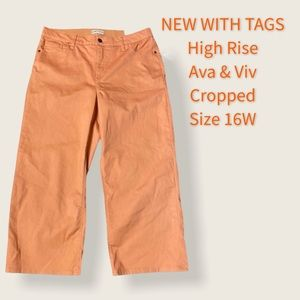 NWT Ava & Viv 16W Wide-Leg Crop Stretch High Rise